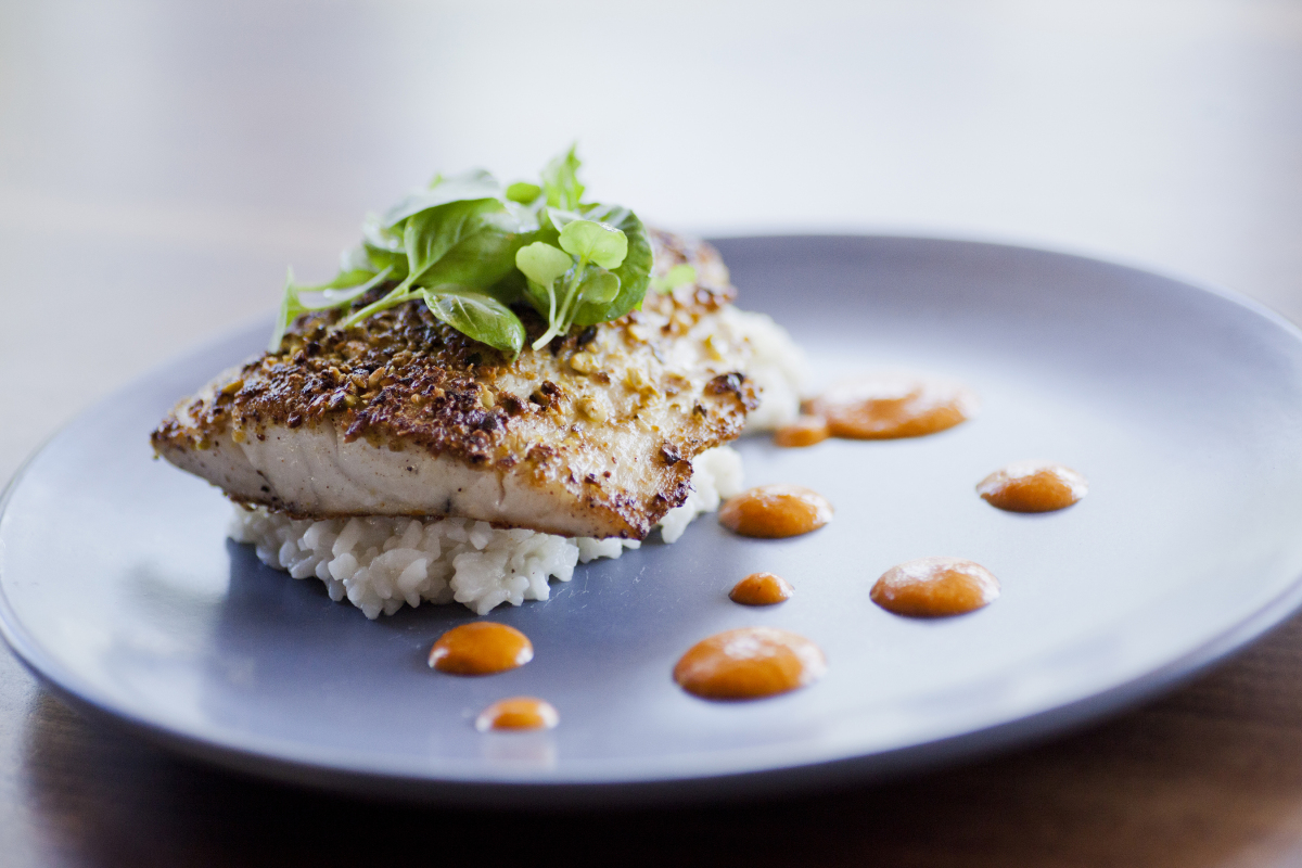 Pistachio Crusted Sea Bass