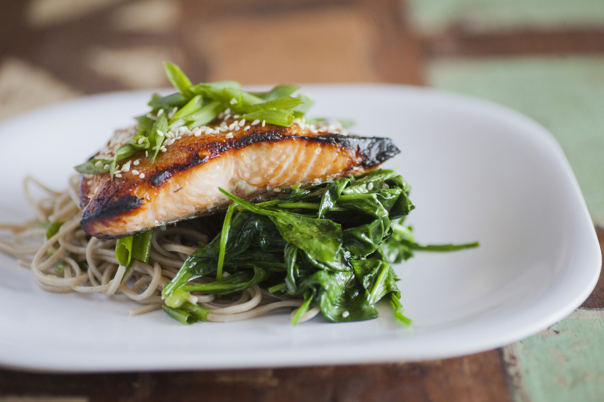 Maple Miso Salmon w/Soba